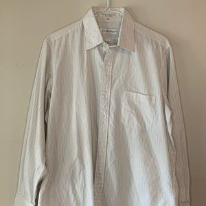 Calvin Klein White Striped Button Down
